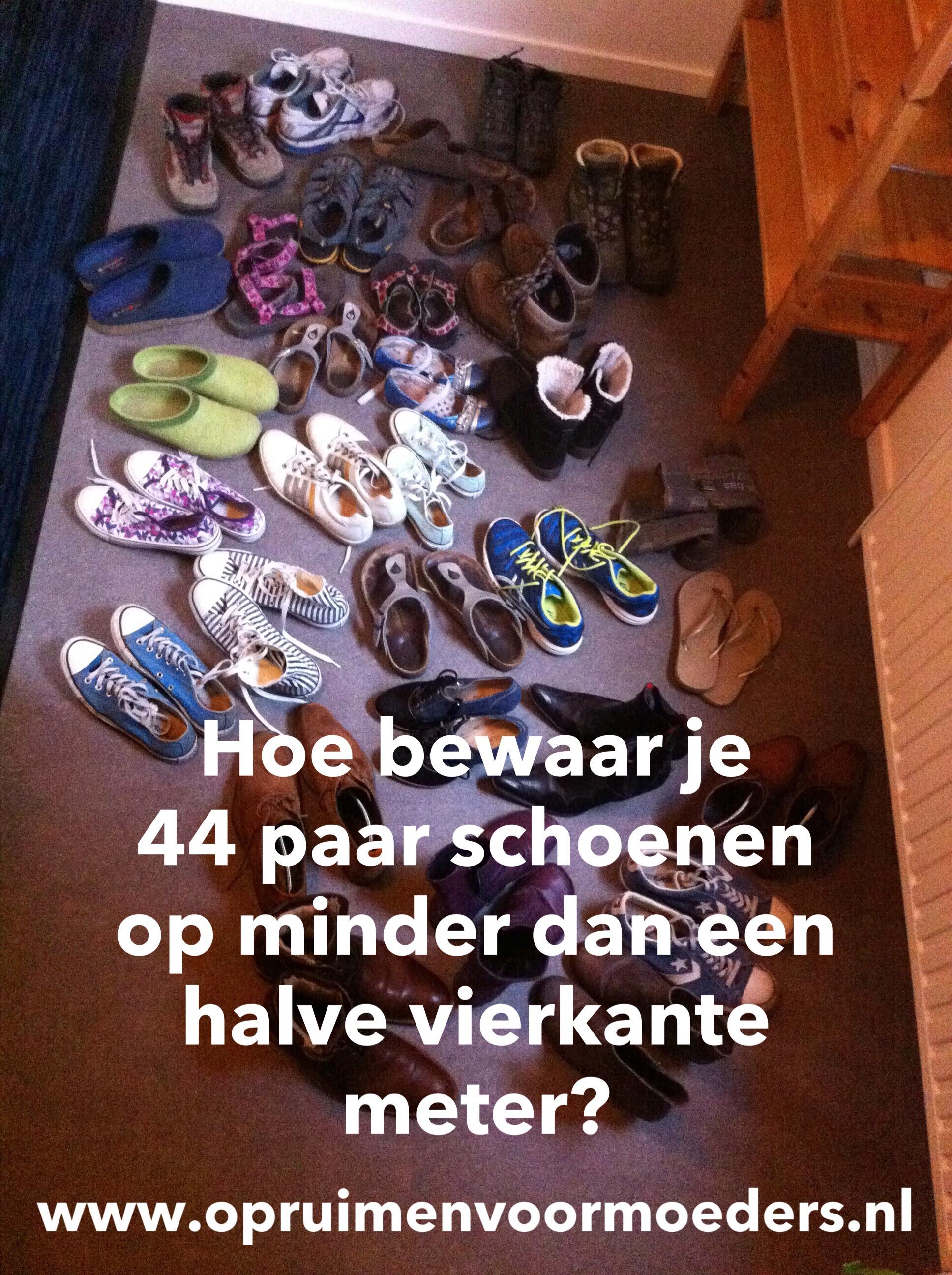 Hoe bewaar je 44 paar schoenen op minder dan een halve for Huis opruimen tips